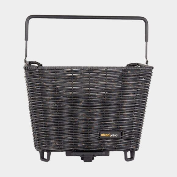 Cykelkorg Atran Velo Picnic M, rotting, på pakethållaren, med handtag, svart