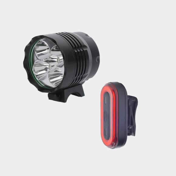 Lampset Boruit ULTRA 1200 / Machfally Force 400  + hjälmfäste + pannband + förlängningskabel