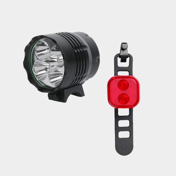 Lampset Boruit ULTRA 1200 / Gaciron Safetylight 15 Red + hjälmfäste + pannband + förlängningskabel