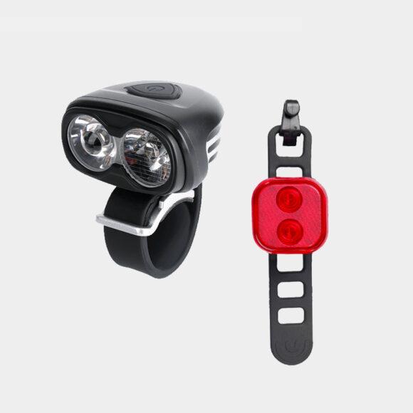 Lampset Boruit ULTRA 960 / Gaciron Safetylight 15 Red + hjälmfäste + pannband + förlängningskabel
