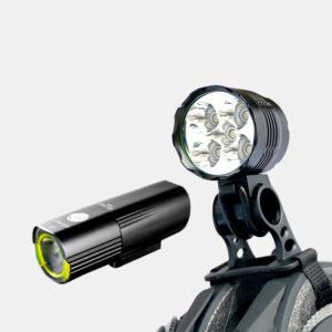 Lampset MTB Hjälmlampa Boruit ULTRA 1200 / Framlampa Gaciron Speed X 1000