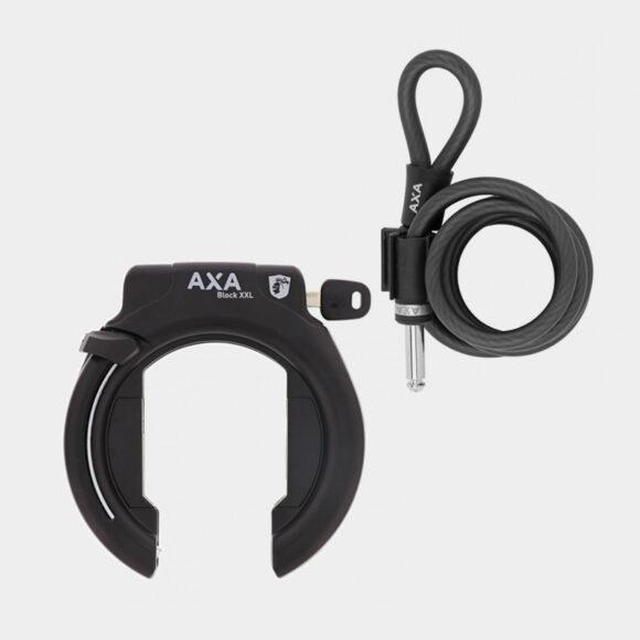 Ramlås AXA Block XXL Retractable + Ramlåsvajer AXA Newton Plug In, 150 cm, Ø10 mm